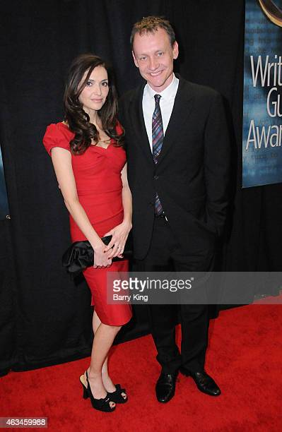 Writer Alec Berg and actress Michele Maika arrives at the 2015 Writers Guild Awards at the Hyatt Regency Century Plaza on February 14 2015 in Los...