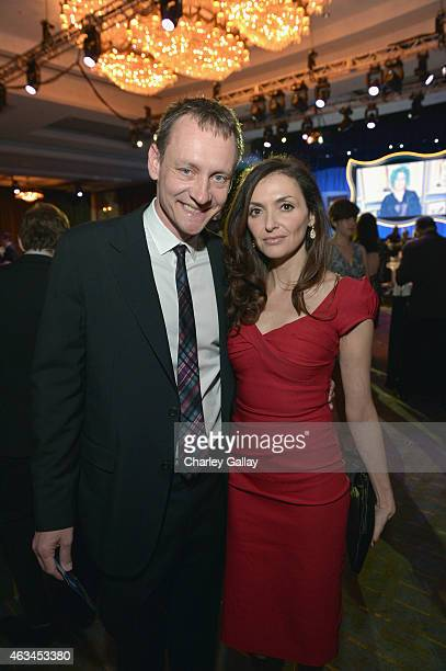 Writer Alec Berg and actress Michele Maika attend the 2015 Writers Guild Awards LA Ceremony at the Hyatt Regency Century Plaza on February 14 2015 in...