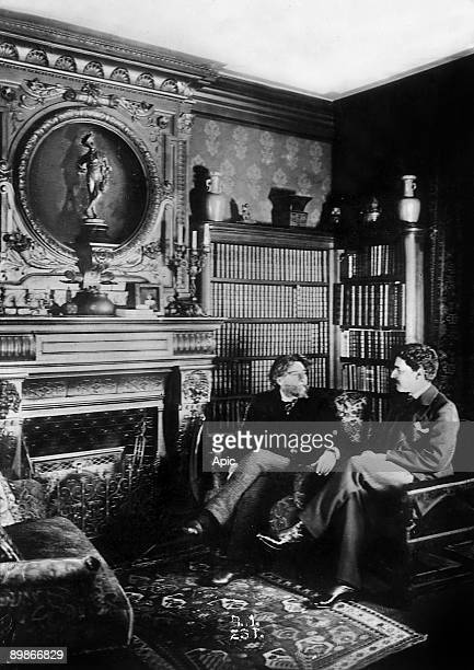 writer Alphonse Daudet and his son Leon at home in the 1890's