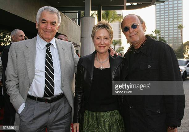 Writer Alvin Sargent poses with producers Laura Ziskin and Avi Arad as they attend the 31st Annual Saturn Awards at the Universal Hilton on May 3...