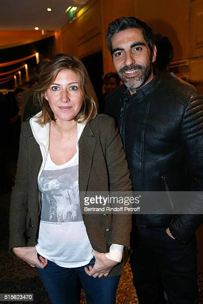 Writer Amanda Sthers and Actor Ary Abittan attend the Cocktail following the Premiere of 'Five' Laureat Du Prix Cinema 2016 Fondation Diane And...