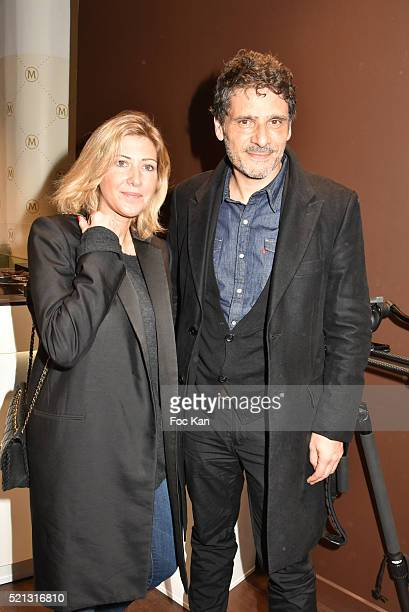 Writer Amanda Sthers and actor Pascal Elbe attend Magnum Paris Concept Store Rue des Rosiers Opening Party on April 14 2015 in Paris France