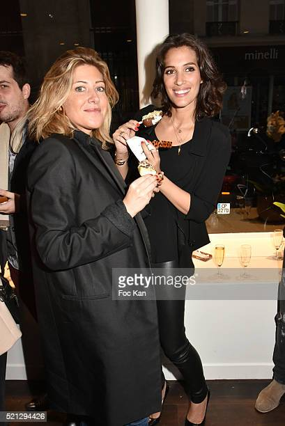Writer Amanda Sthers and Laurie Cholewa attend Magnum Paris Concept Store Rue des Rosiers Opening Party on April 14 2015 in Paris France