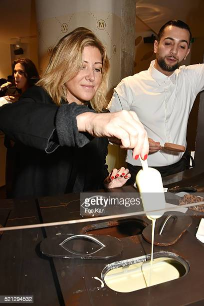 Writer Amanda Sthers attends Magnum Paris Concept Store Rue des Rosiers Opening Party on April 14 2015 in Paris France
