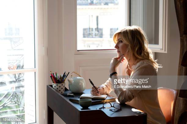 Writer Amanda Sthers is photographed for Paris Match at her home on May 15 2020 in Paris France