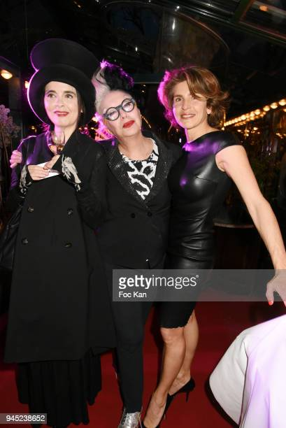 Writer Amelie Nothomb Orlan and Anne Nivat attend the 'La Closerie Des Lilas' Literary Awards 2018 At La Closerie Des Lilas on April 11 2018 in Paris...