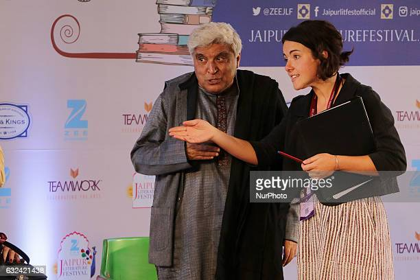 Writer amp Lyricist Javed Akhtar at the ZEE Jaipur Literature Festival at Diggi Palace in Jaipur Rajasthan India on 22 Jan2017