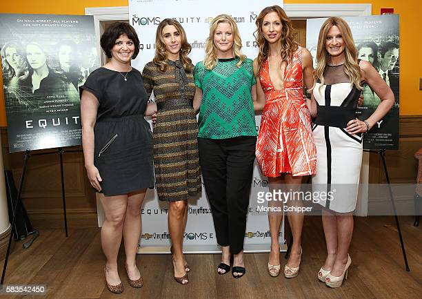 Writer Amy Fox actress and writer Sarah Megan Thomas actresses Anna Gunn and Alysia Reiner and host Denise Albert attend the Mamarazzi Screening Of...