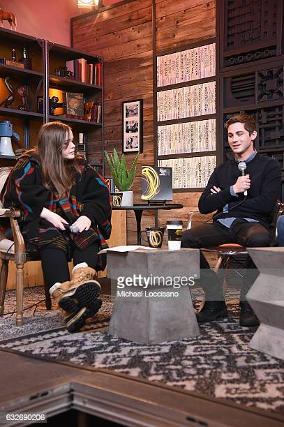Writer Amy Kaufman and Logan Lerman speaks at the Cinema Cafe at Filmmaker Lodge on January 25 2017 in Park City Utah