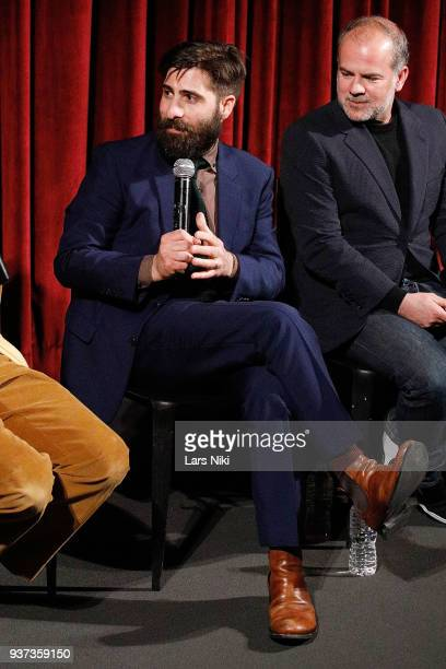 Writer and actor Jason Schwartzman on stage during The Academy of Motion Picture Arts Sciences Official Academy Screening of Isle of Dogs at the MOMA...