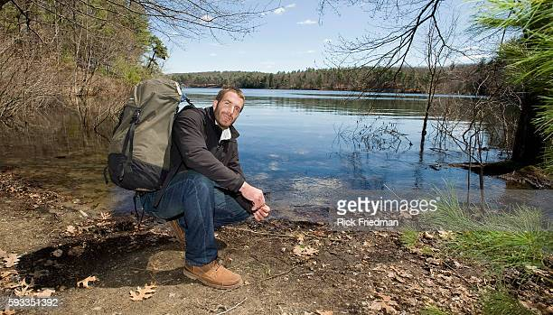 Writer and adventurer Guy Grieve at Walden Pond in Concord. Henry David Thoreau live on the banks of Walden Pond from July 1845 until September 1947.