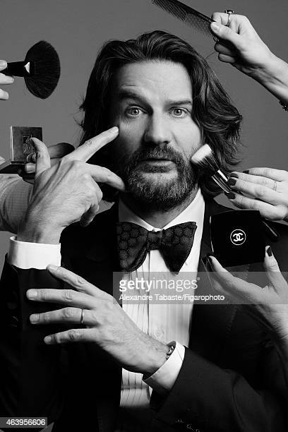 Writer and creator of Lui Magazine Frederic Beigbeder is photographed for Madame Figaro on January 13 2015 in Paris France Jacket and bowtie tuxedo...