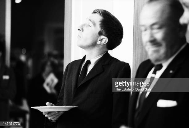 Writer and critic John Updike and writer John Steinbeck attend an event for Russian poet Yevgeny Yevtushenko in November1966 at Queens College in New...