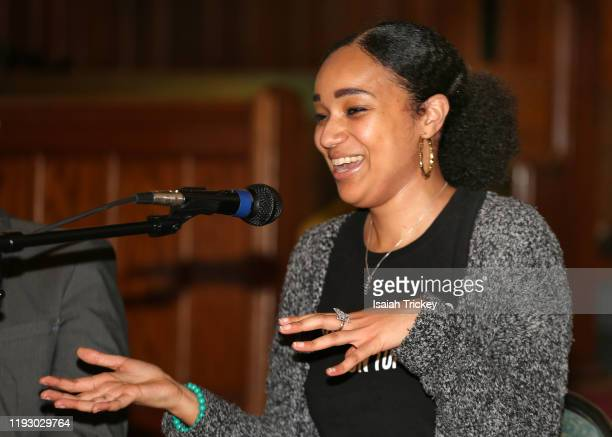 Writer and director Alicia K. Harris attends Listen And Learn at Kingston Road United Church on December 8, 2019 in Toronto, Canada.