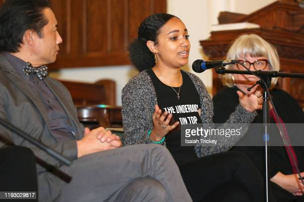 Writer and director Alicia K Harris attends Listen And Learn at Kingston Road United Church on December 8 2019 in Toronto Canada