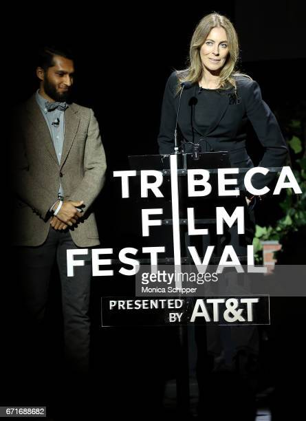 Writer and director Imraan Ismail and writer director and producer Kathryn Bigelow speak on stage at Tribeca Talks Kathryn Bigelow Imraan Ismail...