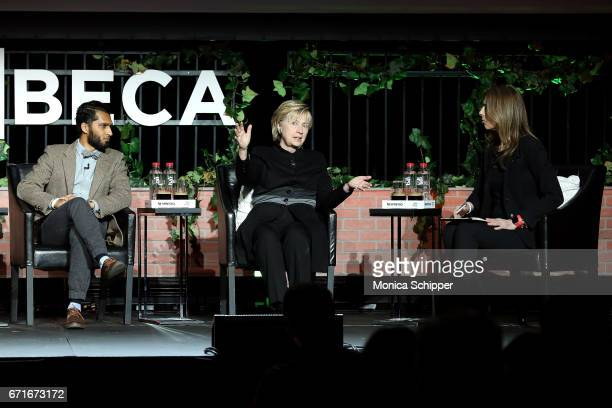 Writer and director Imraan Ismail former United States Secretary of State Hillary Clinton and writer director and producer Kathryn Bigelow speak on...