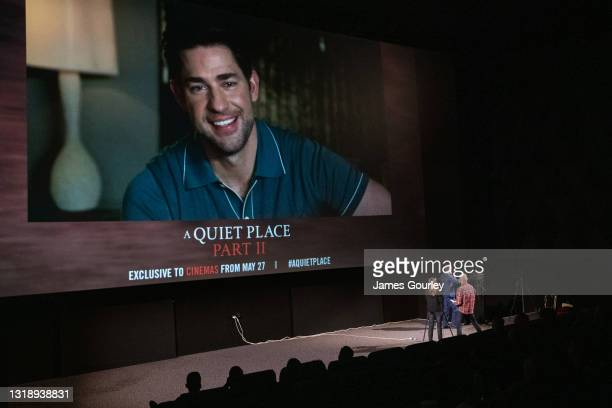 Writer and director John Krasinski participates in a virtual Q&A following the special preview screening of A QUIET PLACE PART II on Wednesday May...