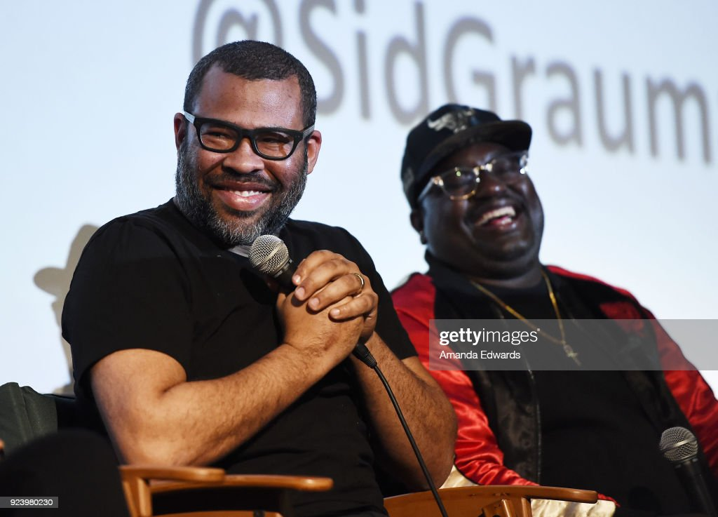 Writer and director Jordan Peele (L) and comedian LilRel Howery attend the Aero Theatre's special screening and Q&A of 'Get Out' at the Aero Theatre on February 24, 2018 in Santa Monica, California.