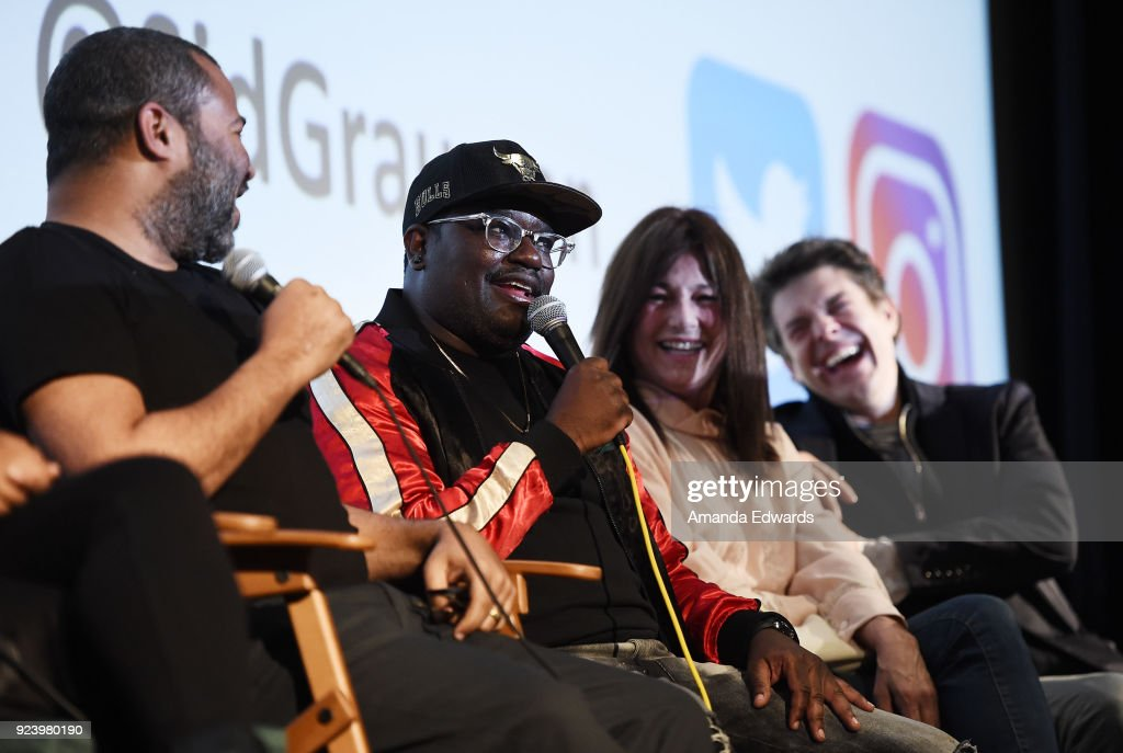 Writer and director Jordan Peele, comedian LilRel Howery, actress Catherine Keener and producer Jason Blum attend the Aero Theatre's special screening and Q&A of 'Get Out' at the Aero Theatre on February 24, 2018 in Santa Monica, California.