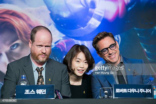 Writer and director Joss Whedon and actor Robert Downey Jr attend the press conference for 'Avengers Age Of Ultron' at Conrad Seoul on April 17 2015...