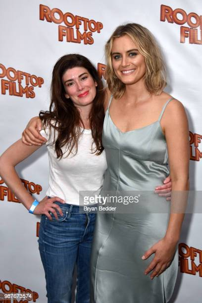 Writer and Director Laura Steinel and actress Taylor Schilling attends the Rooftop Films NY Premiere of Family at The Well on June 29 2018 in...