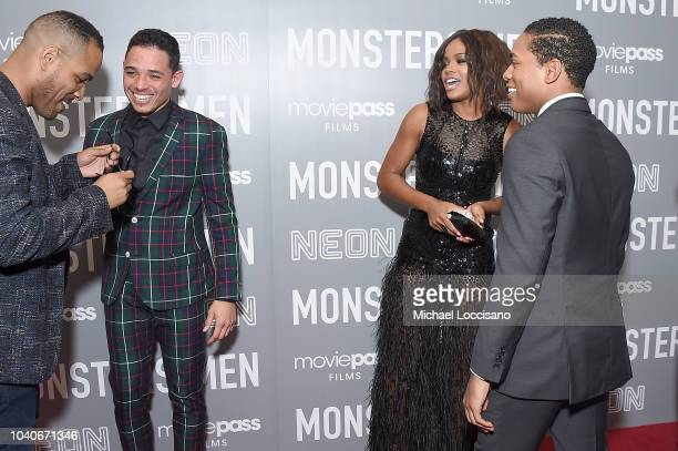 Writer and director Reinaldo Marcus Green and actors Anthony Ramos Chante Adams and Kelvin Harrison Jr attend the New York premiere of 'Monsters And...