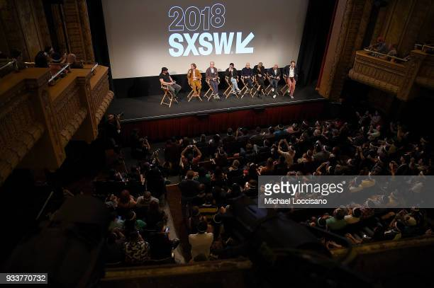 Writer and director Wes Anderson actors Bill Murray Kunichi Nomura Bob Balaban and Jeff Goldblum and producer Jeremy Dawson take part in a QA...