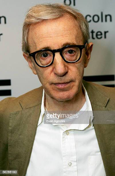 Writer and director Woody Allen poses backstage before participating in An Evening With Woody Allen and a special screening of his new film Match...