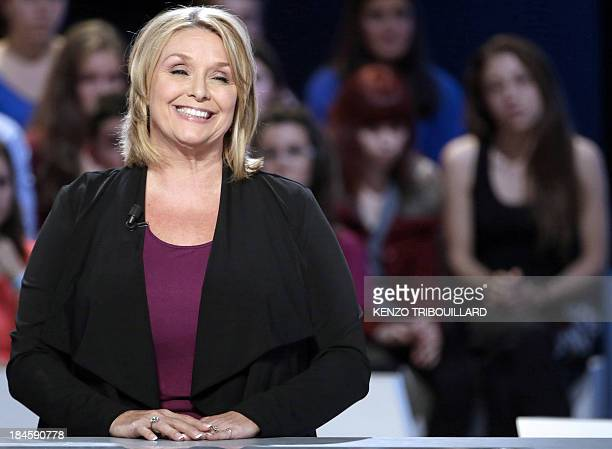 Writer and former actress Samantha Geimer attends the show 'Le Grand Journal' on the set of the French TV Canal in Paris on October 14 2013 Geimer is...