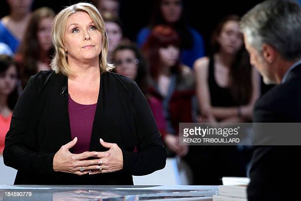 Writer and former actress Samantha Geimer attends the show 'Le Grand Journal' on the set of the French TV Canal in Paris on October 14 2013 Geimer...