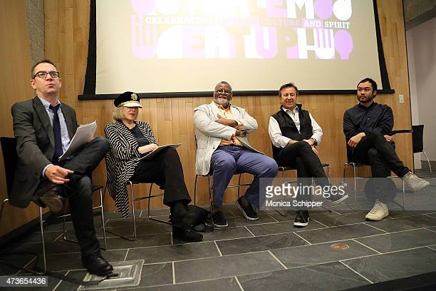 Writer and moderator Ted Allen food critic and cofounder of CitymealsonWheels Gael Greene restaurateur Alexander Smalls and chefs Daniel Boulud and...