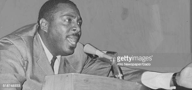 Writer and social activist Dick Gregory delivering a speech February 19 1966