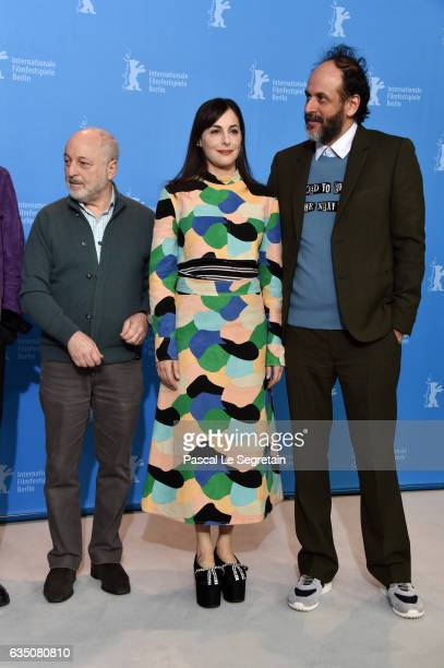 Writer Andre Aciman actress Amira Casar and director Luca Guadagnino attend the 'Call Me by Your Name' photo call during the 67th Berlinale...