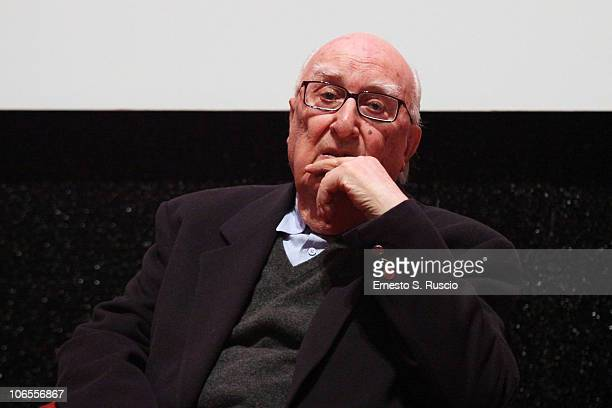 Writer Andrea Camilleri on stage during an Q A session at the 5th International Rome Film Festival at Auditorium Parco Della Musica on November 5...