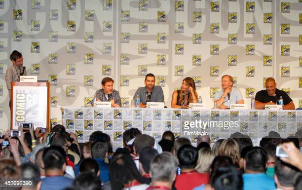 Writer Andy Greenwald writer Jonathan Tropper actor Antony Starr actress Ivana Milicevic actor Ulrich Thomsen and actor Geno Segers speak on stage at...