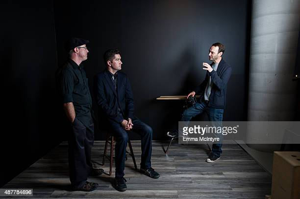 Writer Andy Weir and screenwriter Drew Goddard of 'The Martian' pose for a portrait with Jeff Vespa in the Guess Portrait Studio at the Toronto...