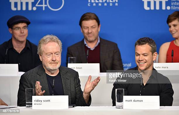 Writer Andy Weir director Ridley Scott actors Sean Bean and Matt Damon speak onstage during the 'The Martian' press conference at the 2015 Toronto...