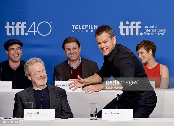 Writer Andy Weir director Ridley Scott Sean Bean Matt Damon and Kate Mara speak onstage during the 'The Martian' press conference at the 2015 Toronto...
