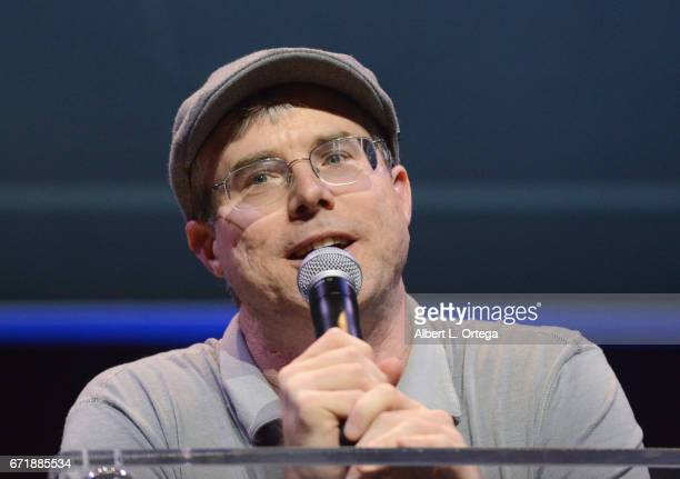 Writer Andy Weir introduces Buzz Aldrin on day 2 of Silicon Valley Comic Con 2017 held at San Jose Convention Center on April 22 2017 in San Jose...