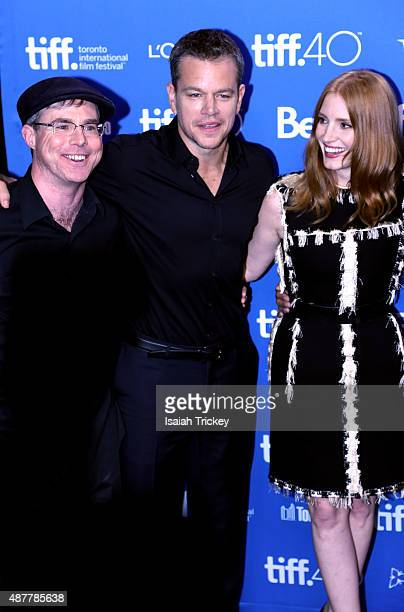 Writer Andy Weir Matt Damon and Jessica Chastain attend the 'The Martian' press conference at the 2015 Toronto International Film Festival at TIFF...