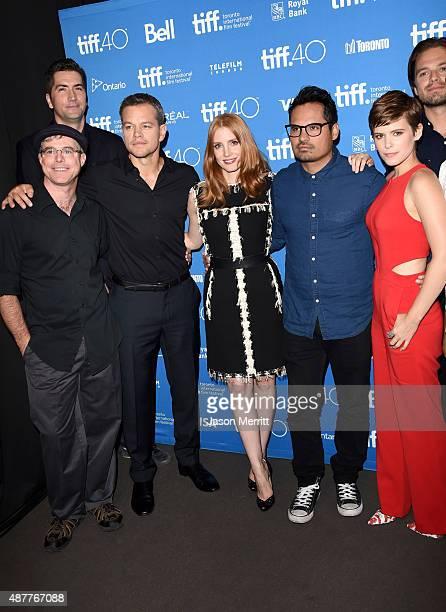 Writer Andy Weir screenwriter Drew Goddard actors Matt Damon Jessica Chastain Michael Pena Kate Mara and Sebastian Stan attend the 'The Martian'...
