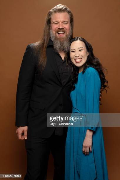 Writer Angela Kang and actor Ryan Hurst from 'The Walking Dead' are photographed for Los Angeles Times on March 22 2019 during PaleyFest at the Dolby...