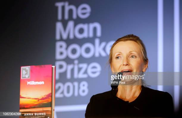 Writer Anna Burns speaks after she was presented with the Man Booker Prize for Fiction 2018 by Camilla Duchess of Cornwall during the prize's 50th...
