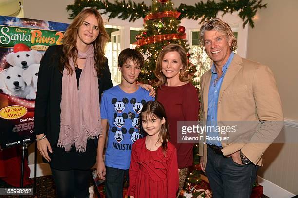 Writer Anna McRoberts actors Josh Feldman Kaitlyn Maher Cheryl Ladd and writer/director Robert Vince attend the 'Santa Paws 2 The Santa Pups' holiday...