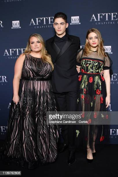 Writer Anna Todd actor Hero FiennesTiffin and actress Josephine Langford attend the After Photocall at Hotel Royal Monceau Raffle on April 01 2019 in...