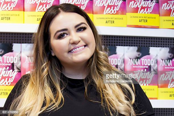 Writer Anna Todd poses during the presentation of her novel 'Nothing Less' on January 10 2017 in Milan Italy