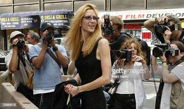 Writer Anne Coulter attends the wedding of television host Geraldo Rivera and Erica Levy at the Central Synagogue August 10 2003 in New York City