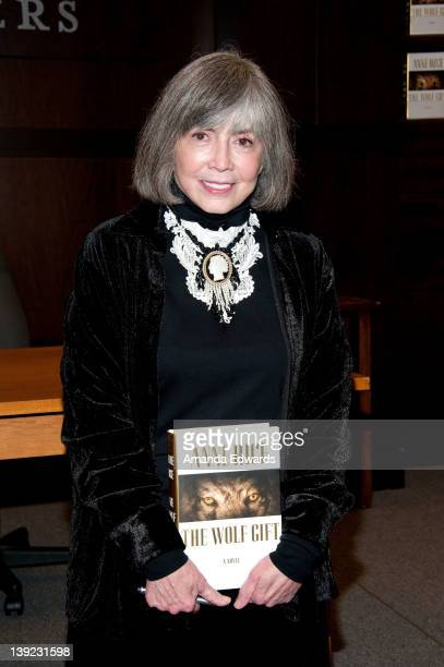 Writer Anne Rice poses before signing copies of her book 'The Wolf Gift' at Barnes Noble bookstore at The Grove on February 17 2012 in Los Angeles...