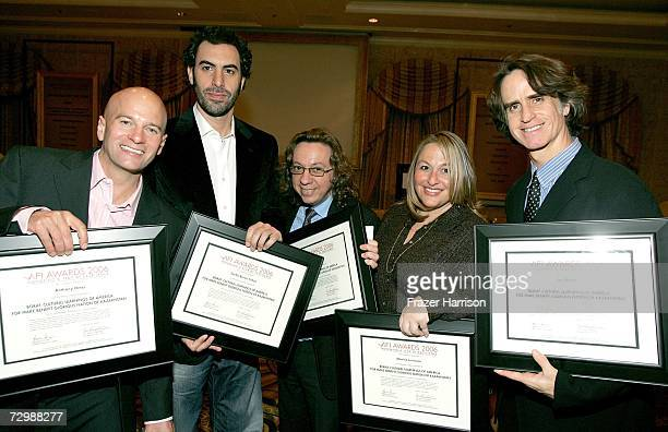 Writer Anthony Hines writer/actor Sacha Baron Cohen writer Peter Baynham executive producer Monica Levinson and producer Jay Roach pose with their...